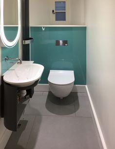 Bathrooms with glass shower walls and glass splashbacks installed Bathroom Wall Coverings, Bathroom Wall Art, Glass Bathroom, Glass Shower, Small Bathroom, Downstairs Bathroom, Modern Bathrooms, Shower Splashback, Bathroom Paneling