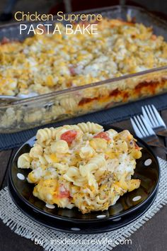 Chicken Supreme Pasta Bake - easy chicken and pasta dinner made on the stove top and then baked to melt more cheese on top
