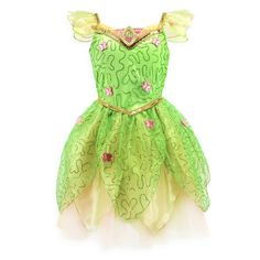 Think of the happiest things in this twinkling Tinker Bell costume - that's the way to get your wings (sold separately). Spirits soar with pixie-dusted sequins and pink butterflies on sheer leafy petals over layers of fluffy tulle. Tinkerbell Costume Kids, Authentic Costumes, Tinker Bell Costume, Petal Sleeve, Peter Pan Disney, Costume Collection, Pink Butterfly, Butterflies, Slip Skirts