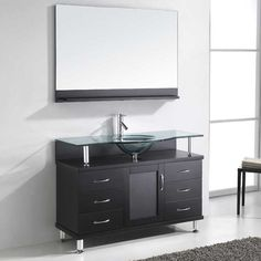 "Vincente 48"" Single Bathroom Vanity Set with Tempered Glass Top"