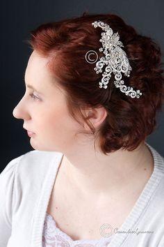Wedding Bridal Hair Clip Vintage Inspired Crystal Bead Rhinestone Silver | eBay $67.99