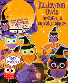 FREE Printable Halloween Owl Invitations and Cupcake Toppers