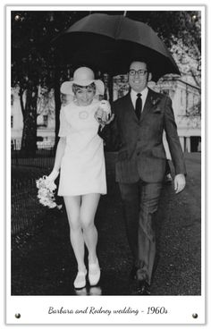 Another 1960s wedding complete with short white dress and floppy hat #wedding #bride