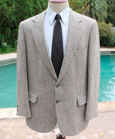 Johnny Carson Blazer Sport Coat size 44s Mens 100% Wool 2 Btn Grey made in USA #JohnnyCarson #TwoButton