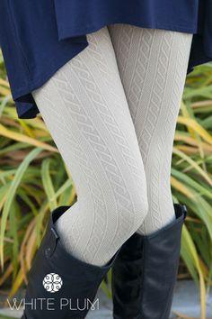 Khaki Cable Knit Fleece Leggings