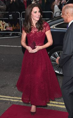 The Duchess of Cambridge attended the opening night of 42nd Street at the Theatre Royal in London, wearing Marchesa Notte's Honeycomb Cap Sleeve A-Line Dress.