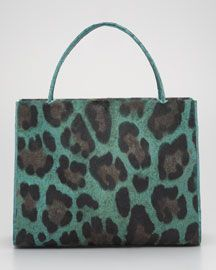 Nancy Gonzalez Leopard-Print Calf Hair & Croc Tote Bag
