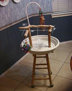 Bar Stool Bird Perch - PetDIYs.com  Use a saucer on a bar stool