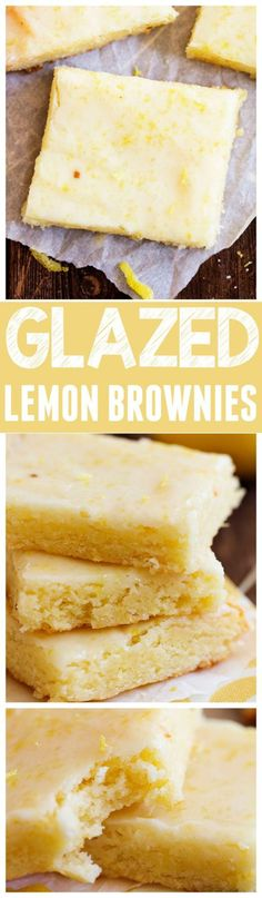 Glazed Lemon Brownies Recipe via The Recipe Critic - These are perfectly moist and chewy and the glaze on top is AMAZING! You won't be able to stop eating them! The BEST Easy Lemon Desserts and Treats Recipes - Perfect For Easter, Mother's Day Brunch, Bridal or Baby Showers and Pretty Spring and Summer Holiday Party Refreshments!
