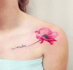 Tattoo For Son, Tattoos For Kids, Great Tattoos, Tattoo You, Girl Tattoos, Tatoos, Watercolor Poppy Tattoo, Poppies Tattoo, Black Poppy Tattoo