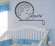 Golfer Wall Decals Sport Boy Golf Player Custom Personalized Name Vinyl Decal Sticker Home Art Mural Kids Bedroom Baby Nursery Decor KG831 by WallDecalswithLove on Etsy