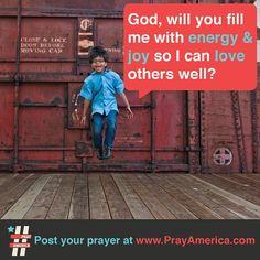 God, we need your energy!  #energy #joy #pray #bible #prayer #inspiration #quote #jesus #typography #design #america  www.facebook.com/weprayamerica  www.youtube.com/newlifeamerica  www.instagram.com/prayamerica