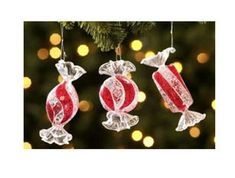Add a touch of sweetness to your tree with a set of unique jumbo candy Christmas ornaments. They look like jumbo pieces of wrapped candy. Glass Christmas Tree Ornaments, Christmas Candy, Candy Decorations, Glass Candy, Holiday Decor, Sweet, Touch, Happy, Candy