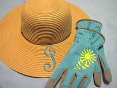 Monogrammed Summer Wide Brimmed Hat and Women's Gardening Gloves Embroidery Article