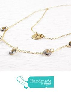 Initial Disc Layered Necklace Set Gold Filled with Swarovski Crystal Personalized Tiny Initial Two Strand Chain Pendant for Women Two Hole Dangling Crystals Mothers Day Gift from 7PM Boutique http://www.amazon.com/dp/B01EY1DCU0/ref=hnd_sw_r_pi_dp_Oz.ixb1H6362T #handmadeatamazon