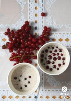 RAW CHIA PUDDING    - A superdelicious, easy-to-make, raw, vegan healthy superfood dessert (or yummy breakfast !)  Recipe makes 500 ml raw vegan chia pudding:  * 1/2 can coconut milk * 250 ml almond milk * 1 banana * Chia seeds * red currants for topping  Mix ingredients, pour into glasses and cool in the fridge for at least one hour (or up to one night). ENJOY!