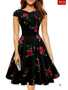 Fashion Mia. Black party skater dress with rose pattern, fitted waist and criss-cross neckline