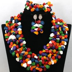 1 of 1: African Multi Coloured Coral Bead Set - Necklace, Earrings & Bracelet