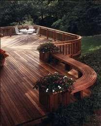 backyard landscape ideas wood deck
