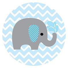 Baby Boy Elephant Stickers for Baby Shower and Birthday Favor Labels in Blue Chevron - Set of 50 Baby Elephant Images, Elephant Baby Showers, Elephant Quilt, Elephant Theme, Elephant Pattern, Angel Baby Shower, Baby Boy Shower, Birthday Favors, Baby Birthday