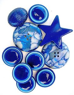 Ideas for polymer: Bright Blue Vintage Buttons