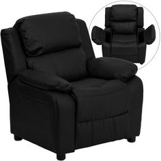 Deluxe Padded Contemporary Leather Kids Recliner with Storage Arms-Black