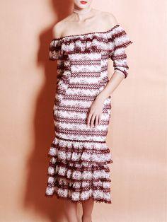 Shop Midi Dresses - Red Elegant Stripes Ruffled Mermaid Midi Dress online. Discover unique designers fashion at StyleWe.com.