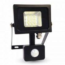 10W LED Sensor Floodlight - Black/Grey Body - SMD - 4500K (VT-4810)