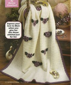 Pansy Afghan Crochet Pattern Blanket Throw Home by PatternMania3
