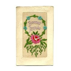 French Antique Embroidered Postcard, Happy New Year, Embroidery Flower lllustrated  Post Card