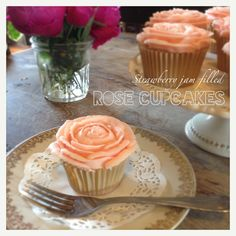 Strawberry jam filled cupcakes with rose buttercream icing, handmade at Le Caillau. www.lecaillau.com