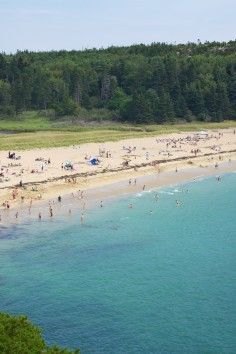 Sand Beach is in Acadia National Park. A little to cool to enjoy the water