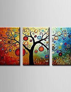 Pintada a mano Floral/BotánicoModern Tres Paneles Lienzos Pintura al óleo…