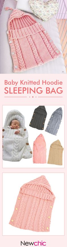 70*35cm Newborn Baby Sleeping Bag Winter Warm Wool Knitted Hoodie Swaddle Wrap Soft Infant Blanket #newchic#blanket#baby