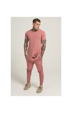 SikSilk Destroyed Curved Hem Tee - Pink