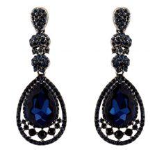 370-NAVY Dk BLUE Fashion Party & Wedding Jewelry Tear Drop Dangle Chandelier Alloy Rhinestone Earrings