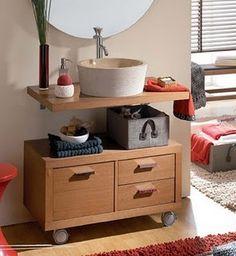 armario de madeira com rodinhas pra banheiro com cuba