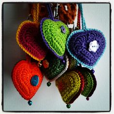 Karin on the hook: Crocheted heart with embellishments--cute as a key ring or a bookbag token--pattern in Dutch; Google Translate reasonably helpful, but there are good pics and a video to help suss out the method