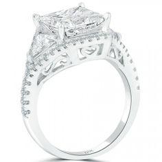 4.87 Carat F-I1 Princess Cut Natural Diamond Engagement Ring 18k Vintage Style