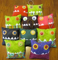 Multicolored Pink Tooth Fairy Monster Pillow Teeth And Monsters