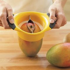 "Mango Pitter: This tool slices a mango down the center and cuts the pit out...this site has other ""slicers"" for different types of fruit..."