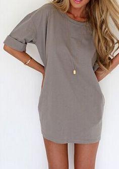 Taupe t shirt dress. Rolled sleeves or no rolled sleeves? #drestfinds @drestmaker