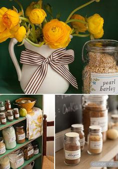 Green and yellow pantry