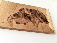 Pyrography pointillism sea turtles rustic by JesHooperPyrography