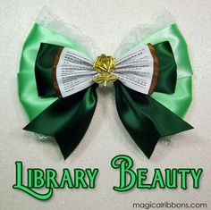 Library Beauty Bow $10.00 – $12.00 Green Ribbon, Classic Beauty, Beauty And The Beast, Light In The Dark, Bows, My Style, Pattern, Handmade, Disney
