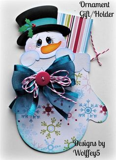 ELITE4U XMAS ORNAMENT GIFT/HOLDER paper piecing premade scrapbook page WOLFFEY5
