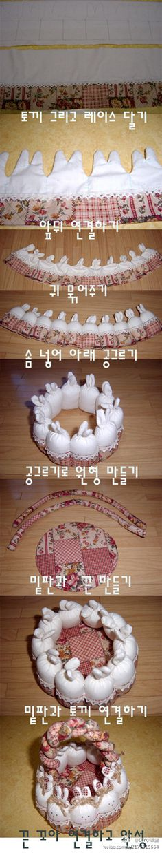 Cesta bonito armazenamento coelho.....(this bunny basket tutorial makes me want to create one. so inspiring!)....
