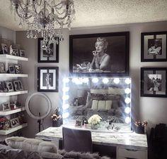 Beauty Room Decor, Glam Room, Hollywood, Gallery Wall, Vanity, Mirror, Table, Room Ideas, Furniture