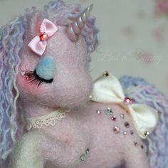 Handmade Needle felt Fairy Unicorn SugarShimmers by BatnBunny