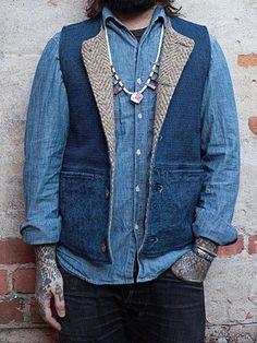 Pancho and Lefty Business Casual Men, Men Casual, Japan Outfits, Suit Vest, Vest Men, Shibori, Formal Vest, Tailored Shirts, Vest Outfits